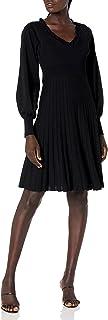 Parker Women's Hudson Long Sleeve V-Neck Fit to Flare Knit Dress