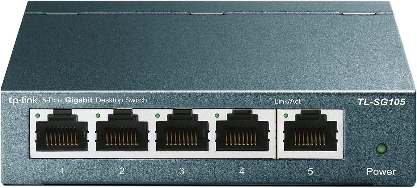 TP-Link TL-SG105   5 Port Gigabit Unmanaged Ethernet Network Switch, Ethernet Splitter   Plug & Play   Fanless Metal Design   Shielded Ports   Traffic Optimization   Limited Lifetime Protection