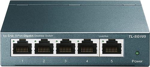 TP-Link TL-SG105 - Switch 5 Puertos 10/100/1000 MBps Switch ethernet, Switch gigabit, Indicador del estado, acero ino...