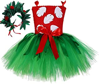 Christmas Princess Costume for Girls 1-12Y with Tropical Fern Leaf Headband Birthday Party Gifts