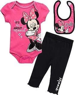 Disney Baby Girls 3 Piece Layette Set: Minnie Mouse, Winnie The Pooh & Bambi (Newborn)