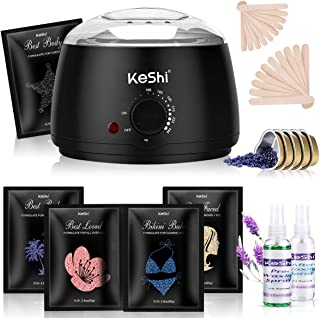 Waxing Kit, KeShi Painless Hair Removal Wax Warmer, Home Wax Kit with 5 Stripless Bags Hard Wax Beans for Full Body, Legs,...