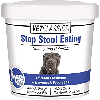 Vet Classics Stop Stool Eating for Dogs, Plus Breath Freshener with Enzymes & Probiotics