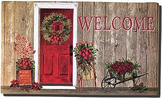 BIRSY Christmas Door Mat (Welcome with Red Door) 18x30(IN)