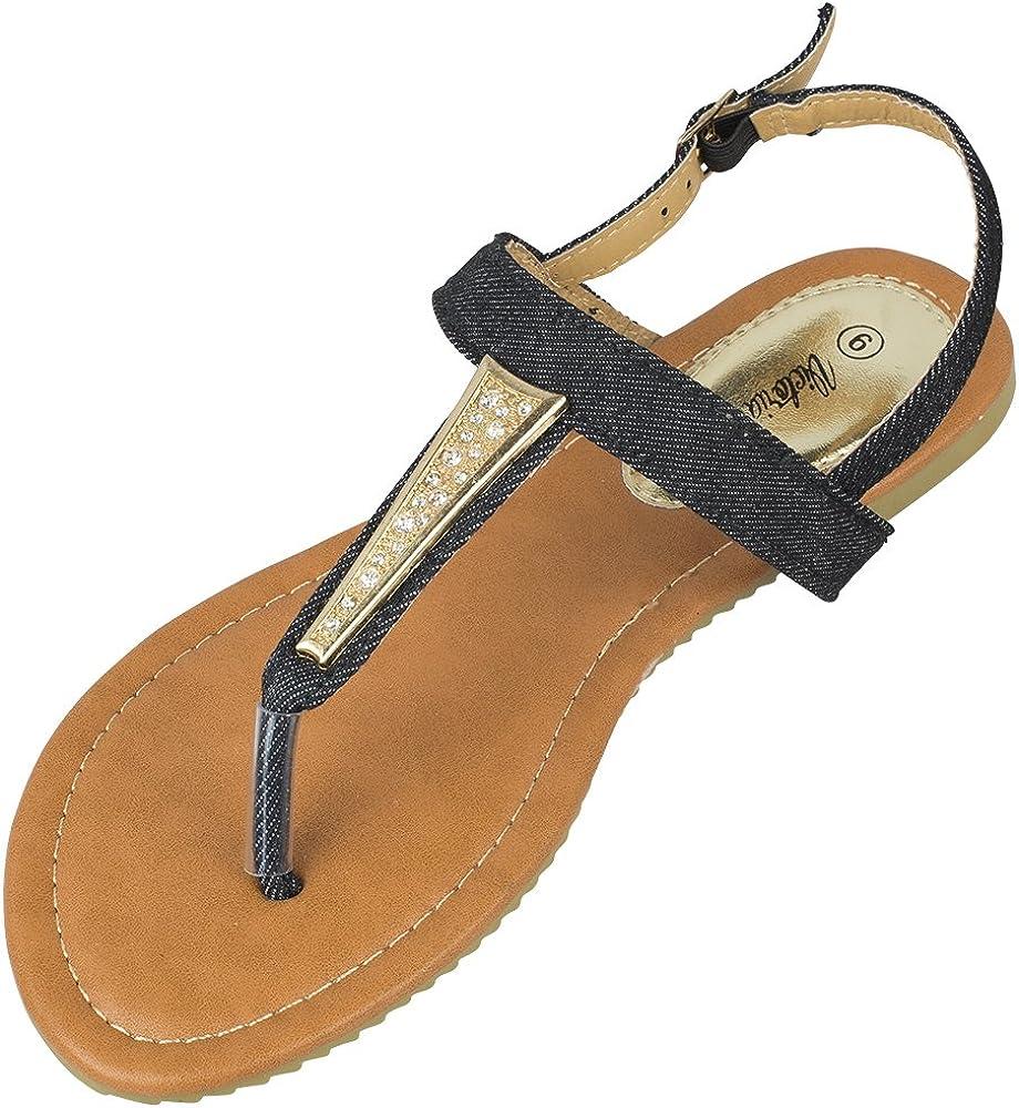 victoria k. Womens Gladiator T-Strap Sale SALE% OFF Sandals Thongs outlet Flats Denim