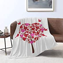 Luoiaax Romantic Bedding Flannel Blanket Image of Abstract Love Tree Hearts Flowers and Birds Super Soft and Comfortable Luxury Bed Blanket W57 x L74 Inch Vermilion Pink Seal Brown and White