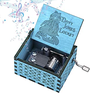 Imncya Aphei Wooden Music Boxes Theme Davy Jones Locket, Hand Crank Antique Laser Engraved Vintage Musical Classic Gifts for Home Decoration,Crafts,Toys,Gifts(Blue)