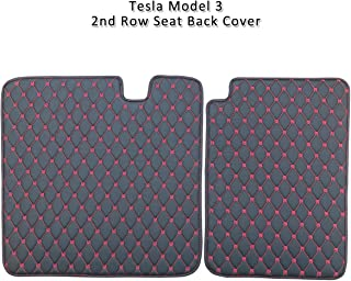 Premium Quality Car Seat Protector Mats Compatible Tesla Model 3 RSZX Car Back Seat Protector Mat,Durable Waterproof Leather Kick Mats 2 Pack Red