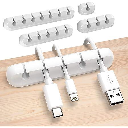 Sinwind 4 Pezzi Supporto per Cavo per Cavi Organizzatore per Cavi Supporto per cavo Fermacavo con Adesivo di PC Mouse Cavo a Casa o in Ufficio Organizer a Clip per Cavo Nero