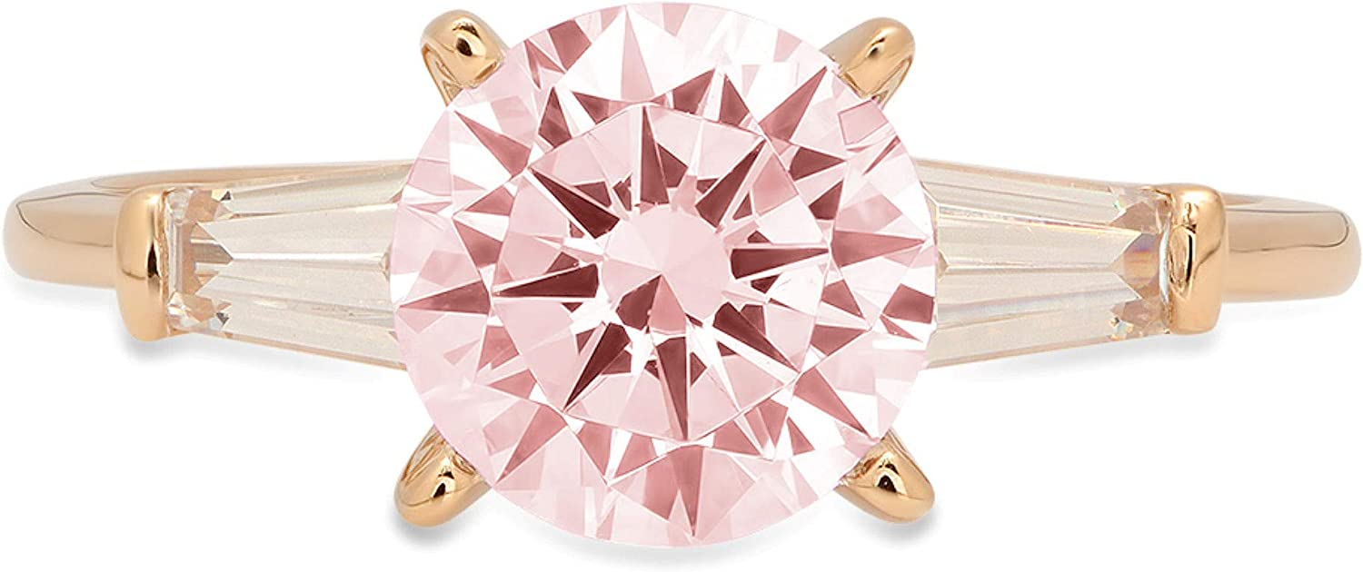 1.94ct Round Baguette Cut 3 stone Solitaire Pink Ideal VVS1 Simulated Diamond CZ Engagement Promise Statement Anniversary Bridal Wedding with accent Ring 14k Yellow Gold