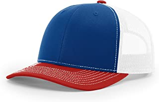 Twill Mesh Back Trucker Snapback Hat -- Royal/White/Red