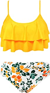 Girls Floral Printing Bathing Suits Ruffle Flounce Two...