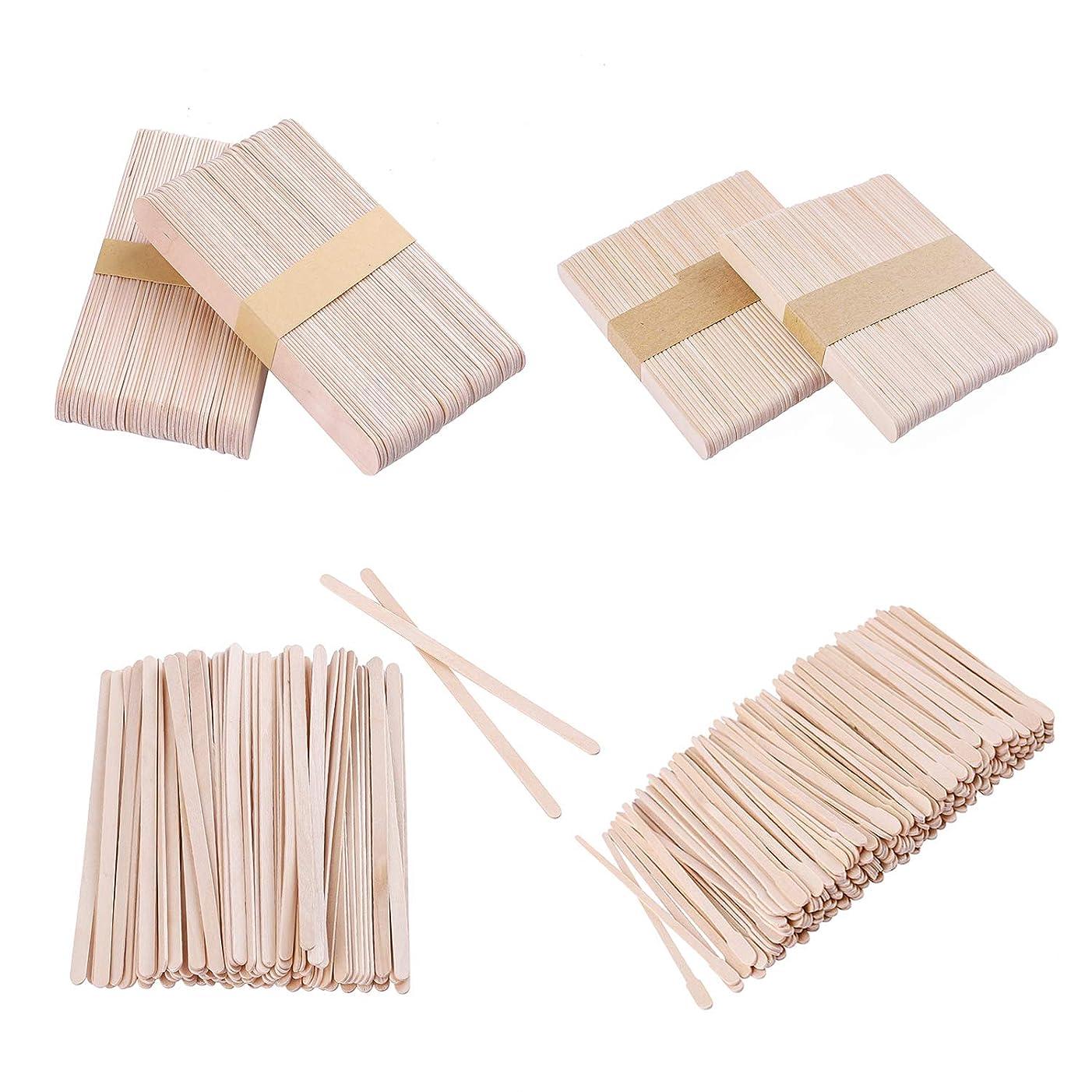 Whaline 4 Style Assorted Wax Spatulas Wax Applicator Sticks Wood Craft Sticks, Large, Medium, Small, 500 Pieces