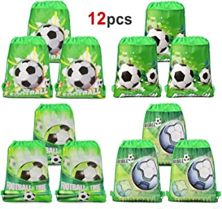 Konsait 12PCS Football Party Bags Drawstring Bags Football Backpack, Kids Birthday Party Supplies, Gift Treat Pouch, Football Party Favors Goodie Bags for Children Girls Boys Toddlers