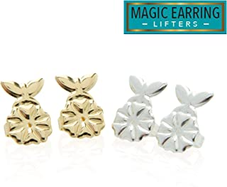 MagicBax Butterfly Lifters - 2 Pairs of Adjustable Hypoallergenic Earring Lifts (1 Pair of Sterling Silver Plated and 1 Pair of 18K Gold Plated)