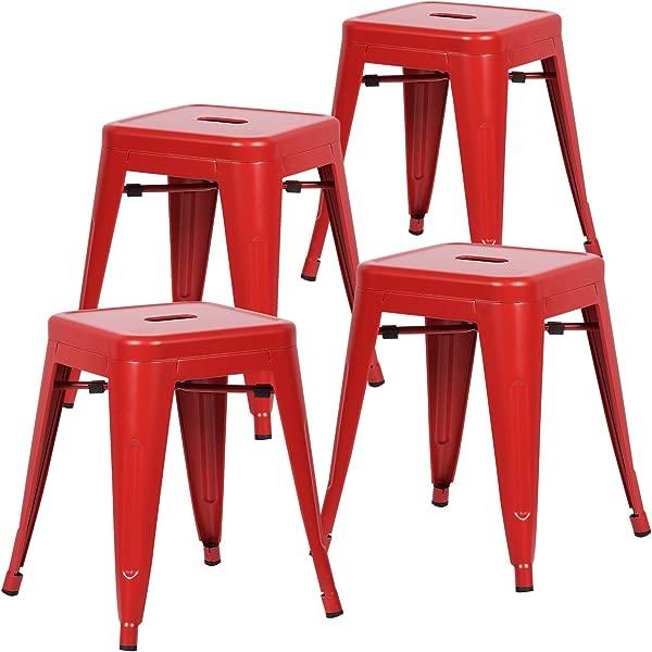 Poly And Bark Trattoria 18 英寸金属侧餐椅和酒吧凳子红色 4 件套