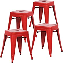 Poly and Bark Trattoria 18 Inch Metal Side Dining Chair and Bar Stool in Red (Set of 4)
