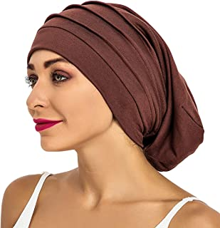 Slouchy Satin Lined Sleep Cap Women Double Layer Beanie Hat for Curly Hair of SUREPOCH
