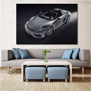 RHWXAX Porsches Convertibles 718 Spyder Argent Car Sport Posters Voiture Art Art Mur Art Print Toiles peintures pour la dé...