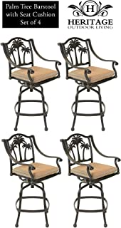 Heritage Outdoor Living Palm Tree Cast Aluminum Barstool - Set of 4 - Antique Bronze