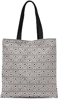 S4Sassy Orange Triangle Geometric Printed Women Large Tote Bag Shopping Travel Bag Shoulder Handbag 16x12 Inches