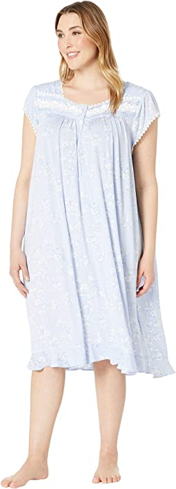 Light Peri Ground Etched Floral. 2. Eileen West. Plus Size Modal Spandex  Waltz Nightgown 6e684b789