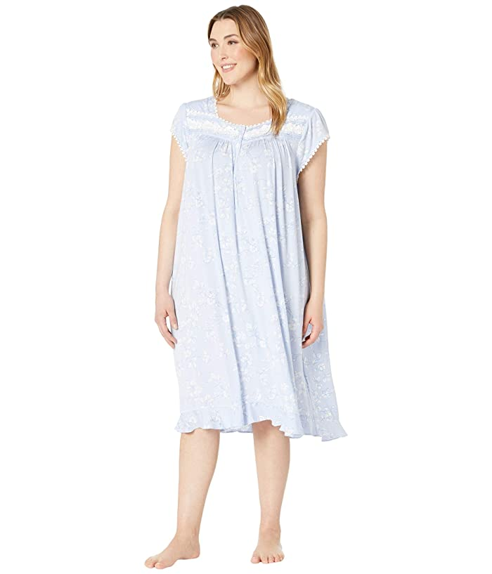 Eileen West Plus Size Modal Spandex Waltz Nightgown (Light Peri Ground/Etched Floral) Women