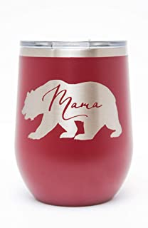 Mama Bear Laser Engraved 12oz Insulated Wine Tumbler with Lid (Maroon)