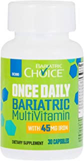 Bariatric Choice ONCE DAILY Bariatric Multivitamin Capsule with 45 mg of Iron (30 Count), Bariatric Vitamin Supplement for Post Bariatric Surgery Gastric Bypass Patients