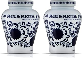 Fabbri Amarena Cherries from Italy Candied in Rich Amarena Syrup - Italian Specialty Stemless Stoned Dark Black Wild Cherries for Sweet & Savory Dishes, Cheeses, Desserts & Cocktails, 21oz (2 pack)