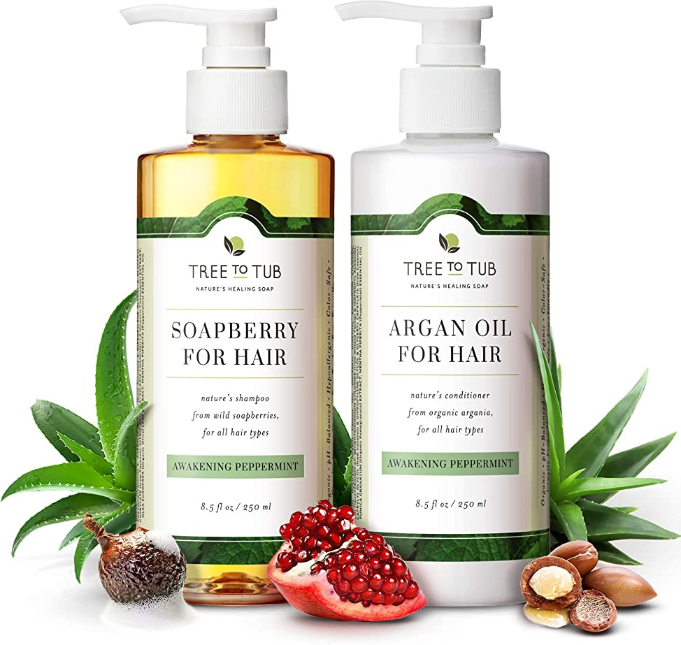 Organic Argan Oil Shampoo and Conditioner Set for Oily, Itchy Scalp. 5.5 pH Balanced for Sensitive Skin, Infused with Peppermint Essential Oil and Wild Soapberries—by Tree To Tub zxecklfo489