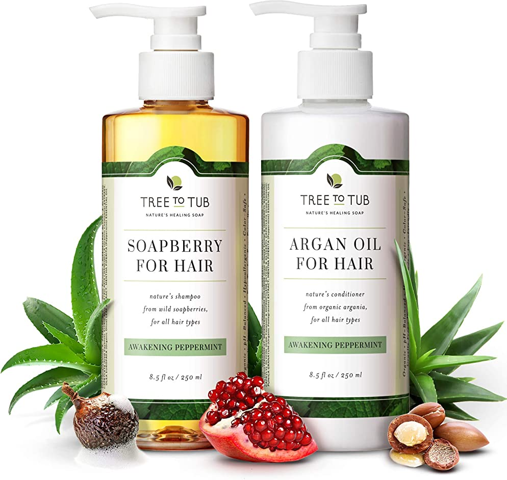 Organic Argan Oil Shampoo and Conditioner Set for Oily, Itchy Scalp. 5.5 pH Balanced for Sensitive Skin, Infused with Peppermint Essential Oil and Wild Soapberries—by Tree To Tub