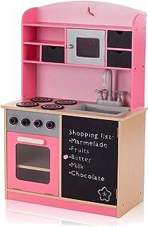 comprar comparacion Baby Vivo Cocina de Juguete de Madera Rosa Microondas Niños Infantil Pizarra Horno y Estufa Lavabo - Mila en Rosa