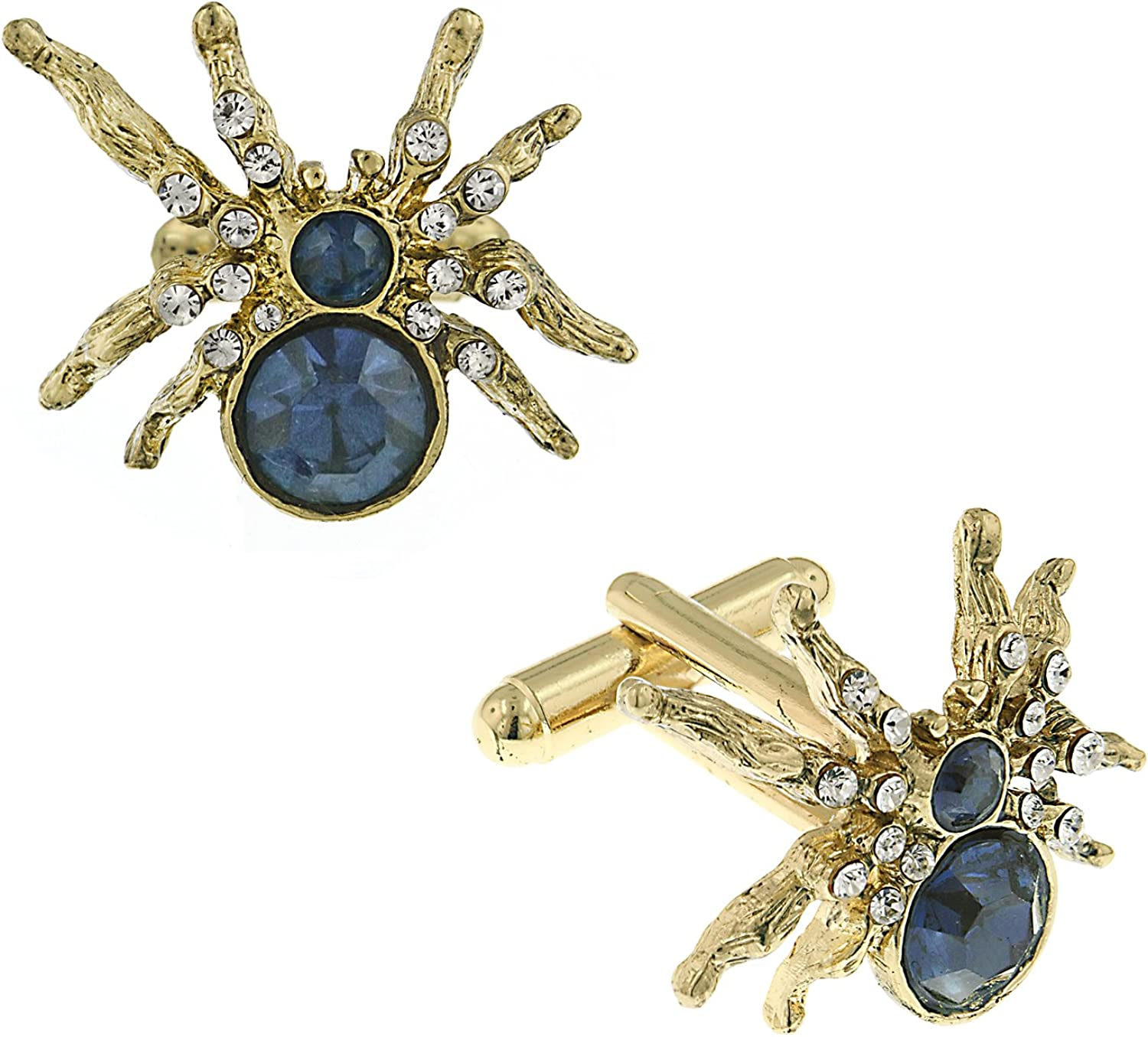 1928 Jewelry Men's Gold Tone and Crystal Spider Cuff Links