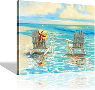 Beach Chairs Ocean Wall Art: Sunset Seascape Artwork Coastal Painting Print for Bathroom (24'' x 18'' x 1 Panel)