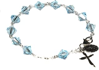 Womens Rosary Bracelet made w/Aquamarine Blue Swarovski Crystals (March) - Confirmation, RCIA, Easter, Birthday & more