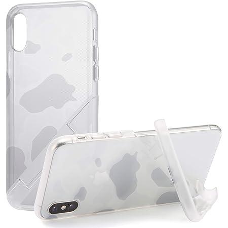 カンピーノ campino スマホケース iPhone XS ケース iPhone X ケース 対応 カモフラージュ OLE stand スタンド機能 耐衝撃 スリム 薄型 動画 Qi ワイヤレス充電対応 クリア グレー 透明 灰色