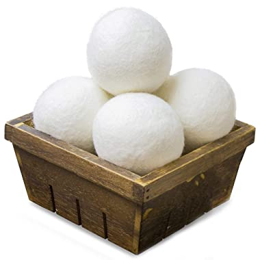 SnugPad Wool Dryer Balls Natural Fabric Softener and 100% Organic, Chemical Free and Reduces Wrinkles. Saving Electricity and Drying Time XL Size 4 Pack White 4 Count