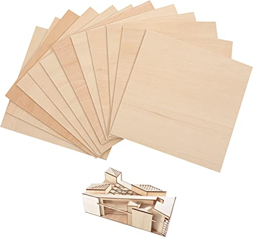 """2021 (12-Pack) 6""""x6""""x1/8"""" Unfinished Basswood Sheets for Crafts - 2021 3mm Thick Square Plywood Sheets - Easy outlet online sale to Cut and Use - Perfect for Architectural Models - Natural Color Basswood with Smooth Surface online sale"""