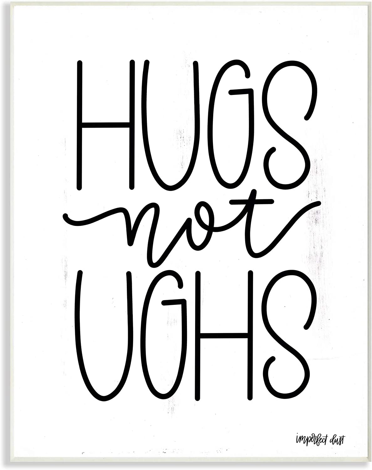 The Stupell Home Decor Hugs Not Gush Black and White Modern Linear Typography Wall Plaque Art 12x18 Multi-color