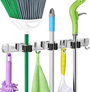 IMILLET Mop and Broom Holder Wall Mount Broom Organizer Stainless Steel Self Adhesive Heavy Duty Hooks Hanger Storage for Garden Garage Closet Kitchen Laundry Room(1 Pack)