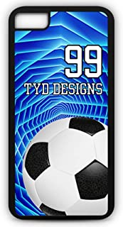 Cell Phone Case Fits iPhone Models 8 or 7 Create Your Own Soccer SC1046 with Player Jersey Number and/Or Name Or Team Name Customizable by TYD Designs in Black Rubber