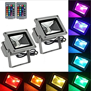 2 Pack, RGB Flood Light 16Colos Changing Security Light,Outdoor LED Lights,16 Colors & 4 Modes with Remote Control, IP65 Waterproof Floodlight, US 3-Plug, Wall Washer Light/Garden/Landscape