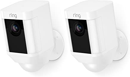 Ring Spotlight Cam Battery HD Security Camera with Two-Way Talk and a Siren Alarm, Works with Alexa, Pack of 2 - White