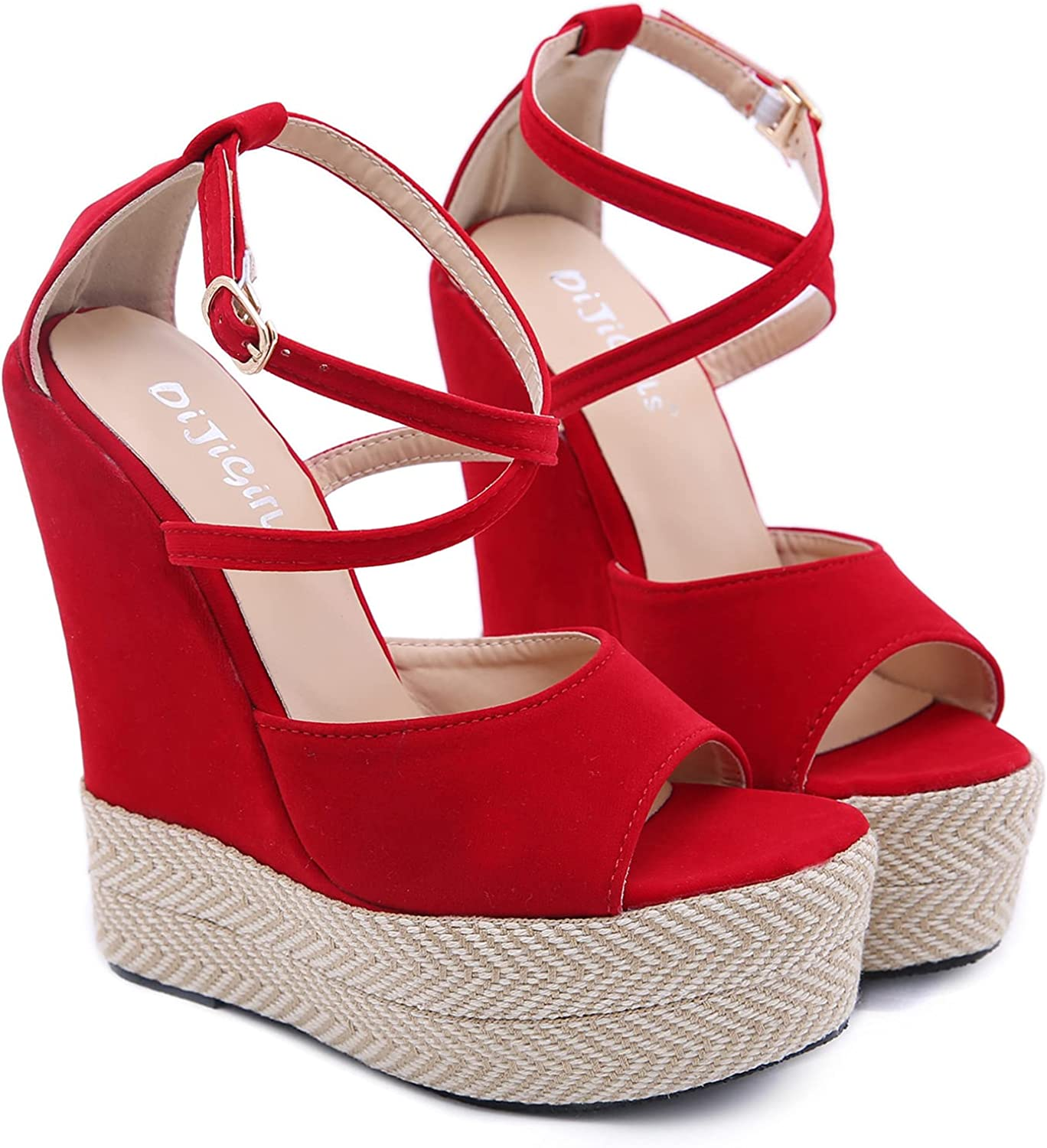 Women Wedges Sandals Ranking integrated 1st place Chunky Heel Elegant Popular Fashion Buckle Ankle St