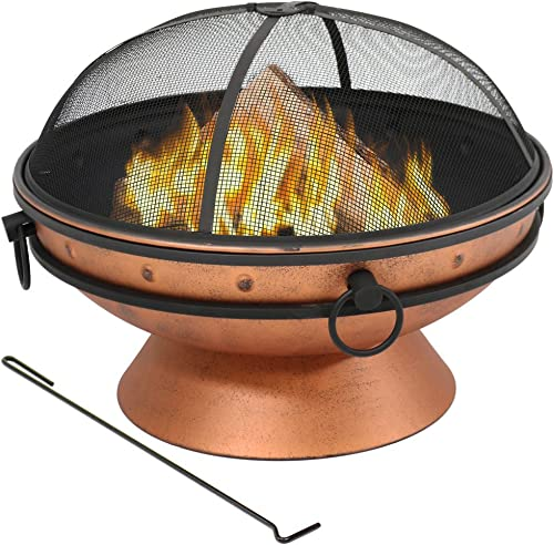 discount Sunnydaze Large Copper Finish Outdoor Fire Pit Bowl - Round Wood Burning Patio Firebowl with Portable Handles and Spark 2021 Screen lowest - 30 Inch outlet sale