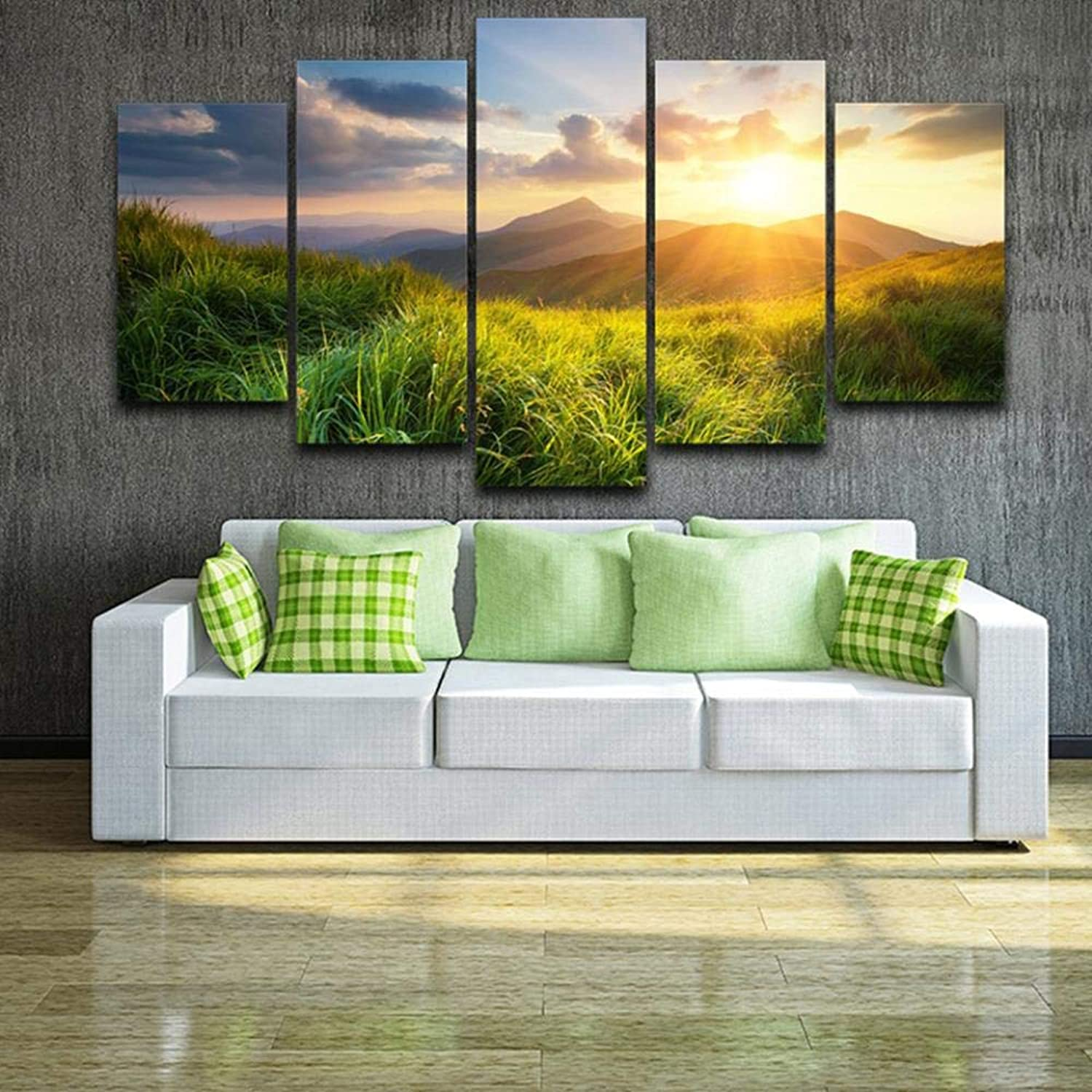 Envío rápido y el mejor servicio QIFUHUA Impresión en Lienzo Pintura Decoración para para para el hogar 5 Piezas Mountain Valley Prairie During Sunset Nature Scenery Poster Modular Wall Art Pictures, Marco, 20x35 20x45 20x55cm  alto descuento