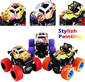 Monster Trucks Toys for Boys - Friction Powered 3-Pack Mini Push and Go Car Truck Playset for Boys Girls Toddler Aged...