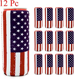 Satomoto Slim Can Coozie 12 Pack USA Flag Beer Coozies for Cans 16 oz Can Cooler Sleeve