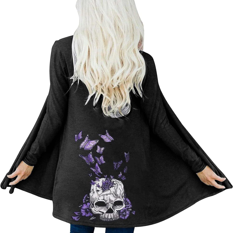 Women's Halloween Cardigan Coat Skull Flower Printing Shawl Collar Drape Front Open Casual Loose Outwear